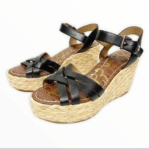 Sam Edelman Darlene Black Platform Wedge Sandal